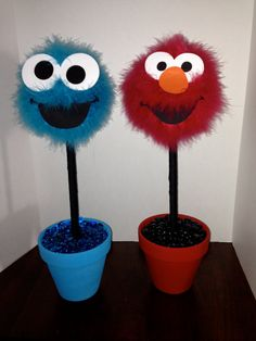 Elmo or cookie monster centerpiece by CraftyPartyDecor on Etsy