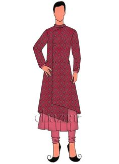 Buy Rani Pink Art Silk Jacket Style Sherwani online, SKU Code: This Pink color chipkan sherwani for Men comes with Brocade Art Silk . Shop Now! Engagement Suit For Man, Engagement Dresses, Dress Illustration, Fashion Illustration Dresses, Digital Illustration, Mens Sherwani, Kurta Men, Fashion Design Drawings, Fashion Sketches