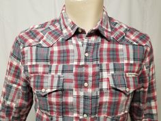 0bd31f05 LUCKY BRAND White Gray Red Patchwork Plaid Pearl Snap Western Shirt Mens M  #LuckyBrand #Western