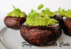 """Fragrant Vanilla Cake: Raw Pesto Stuffed """"Roasted"""" Mushrooms"""