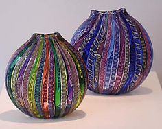 "Lucy Bergamini, ""Medium Flat Vessels,""  blown glass, http://www.morganglassgallery.com/imagepages/46.154.htm"