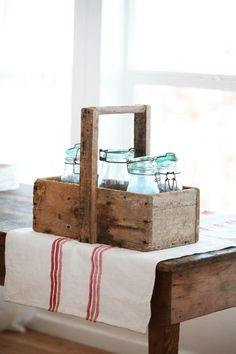 French Trug, Blue Mason Jars and French Linen...Parfait! Thefrenchinspiredroom.com