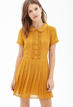 Polka Dot Chiffon Dress | FOREVER21 - Mustard or royal blue? They're both so cute! $28