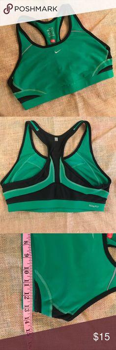 c6094d7d76 Nike fit dry green sports bra Size medium. Green and black racerback sports  bra.