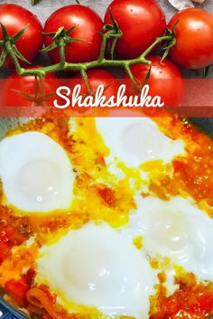 Shakshuka is an easy one pan poached egg dish with stewed tomatoes and Mediterranean/Middle Eastern spices. Quick and easy but filling breakfast! Middle Eastern Dishes, Stewed Tomatoes, Egg Dish, Potato Soup, Poached Eggs, Fried Chicken, Stir Fry, Spices, Vegetables