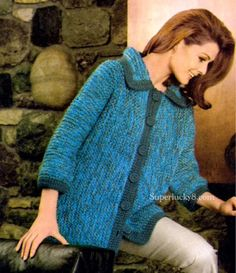 Knitting PDF pattern  vintage classic sweater by Superlucky8com