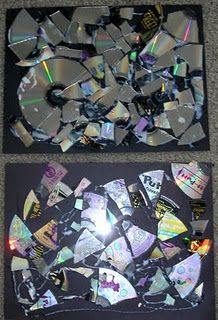 mosaics with broken cd's  (Maybe great for in garden....)