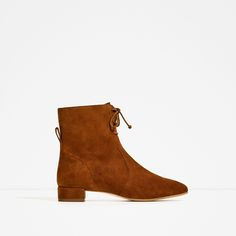 ZARA - WOMAN - FLAT LEATHER LACE UP ANKLE BOOTS