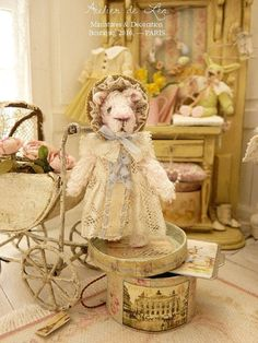 Miniature dressed Victorian rabbit Curly and by AtelierMiniature