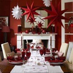 Decorazioni per tavola di Natale - Tavola di Natale, decorazione con bicchieri rossi