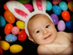Easter picture ideas.  Infant photography.  Baby photography.