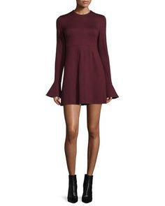 TCQ5U McQ Alexander McQueen Long-Sleeve Satin Sheath Dress, Port
