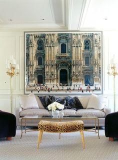 Leopard ottoman. Large scale art.