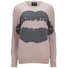 Markus Lupfer Women's Lurex Big Smacker Lip Intarsia Jumper - Cloud... (104.085 HUF) ❤ liked on Polyvore featuring tops, sweaters, pink, oversized grey sweater, silver metallic sweater, crewneck sweater, grey sweater und raglan sweater