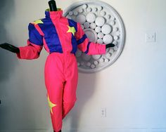 vintage 80s NEON ski outfit! One piece
