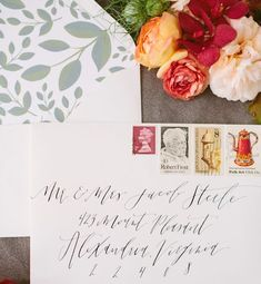 #Calligraphy and Vintage Stamps #Wedding Envelope Inspiration via Oh So Beautiful Paper: http://ohsobeautifulpaper.com/2014/07/envelope-inspiration-calligraphy-and-vintage-stamps/ | Calligraphy: The Weekend Type | Floral Styling: The Moss & Rose | Styling: Two Be Wed | Photo Credits: Korie Lynn Photography