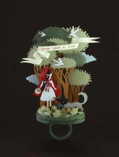 """Red Riding Hood Paper Ring by Elsa Mora :: featured in """"500 Paper Objects"""" Lark Crafts"""