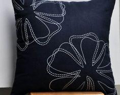 Couverture d'oreiller floral décoratif Throw coussins/couverture, oreiller moderne, oreiller lin noir, blanc fleur broderie, décoration intérieure
