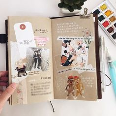 Midori Traveler's Notebook ideas and layouts. Inspiration for keeping a travel journal, art journal or scrapbook