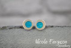 Handmade sterling silver stud earrings with by NFergusonJewellery, £40.00