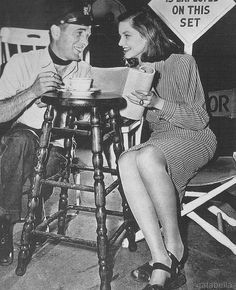 Lauren Bacall and Humphrey Bogart on the set of To Have And Have Not, 1944