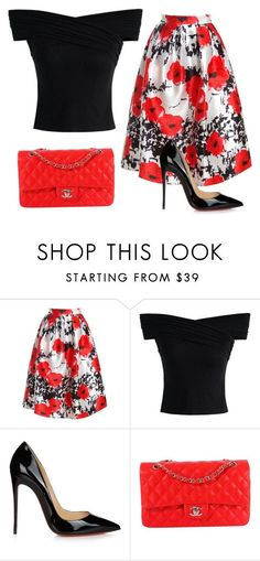 """Untitled #255"" by jovanaaxx on Polyvore featuring Sans Souci, Chicwish, Christian Louboutin and Chanel"