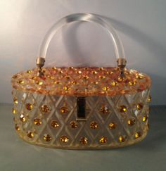 Maxim Lucite Purse Clear Deeply Carved with Large Topaz Rhinestones Oval | eBay