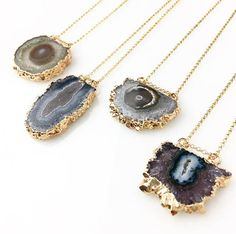 Mini Stalactite Slice Necklace / Amethyst Slice Jewelry / Gold
