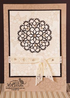 A Crafty Cat - Stampin' Up! Delicate Doilies on stamped background