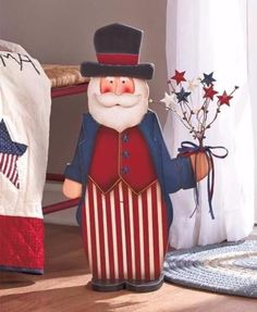 """Americana Patriotic Wooden 24"""" Uncle Sam Figure Country Decor 4th of July Stars"""