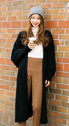 Fashiontroy Hipster & Indie long sleeves ribbed-knit cotton blend long cardigan