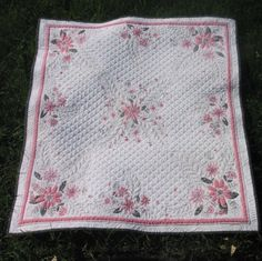 Heirloom quilted vintage tablecloth by BarbsQuilting on Etsy, $200.00