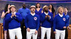 "Chicago Cubs players Anthony Rizzo, David Ross and Dexter Fowler perform ""Go Cubs Go"" with Bill Murray. [Season 42, 2016]"