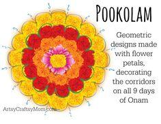KOLAM-ONAM - Celebrating Onam the Harvest festival of Kerala, India - This Hindu festival is famous for Bahubali, pookolams, boat racing , onam sadya & elephants. Come Explore India with us