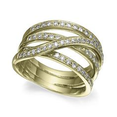 Criss cross yellow gold diamond band featuring sixty one certified round diamonds totaling 0.40 carat.