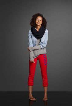 Start off your layered look with a Perfect Push 'Em Up Plunge Bra from Gilly Hicks then slip on an easy fit sweater over a lace tank. Put on a pair of skinny banded sweatpants and a cropped denim jacket. Grab a cozy knit scarf to stay warm.