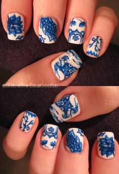 ming vase inspired nails