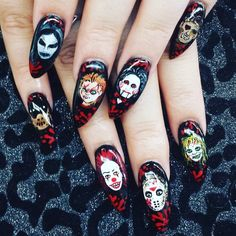 55 Scary Halloween Nail Art Design Ideas For The Coming Halloween - Page 27 of Skull Nail Designs, Halloween Nail Designs, Halloween Nail Art, Scary Halloween, Spooky Spooky, Halloween Ideas, Goth Nails, Skull Nails, My Nails