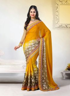 Yellow Crepe Silk Border Saree With Matching Blouse