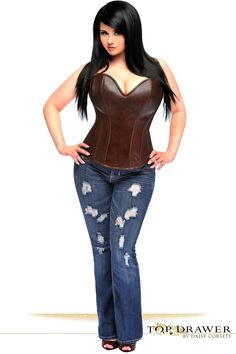 cdcef5fa80 Top Drawer Dark Brown Distressed Faux Leather Steel Boned Corset Top. Plus  Size ...