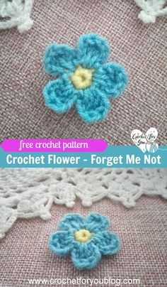 How to Crochet Forget Me Not Flower - free crochet pattern. #crochet #crochetflowers #applique #crochetpattern #easy #diy