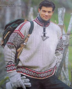 Norwegian sweater for Steven pattern translated to English by Turid started summer 07 Patton merino wool worsted weight Norwegian Clothing, Norwegian Fashion, Norwegian Style, Hand Knit Blanket, Knitted Blankets, Nordic Sweater, Men Sweater, Country Attire, How To Start Knitting