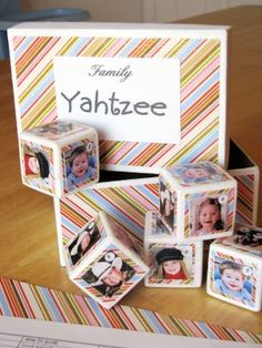 Family Yahtzee DIY! How cute! Pictures of family members and pets on blocks instead of dice....Picture scorecards! I am thinking Christmas gifts! - Need to make one for the kids.  This is their favorite game.