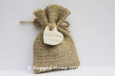 10 x Burlap Hessian Wedding Favour Bags and White by RaggedHome, £11.50