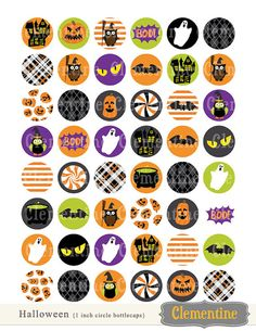 Halloween bottle cap images, bottlecap images, one inch circles - royalty-free, digital collage sheet- Instant Download