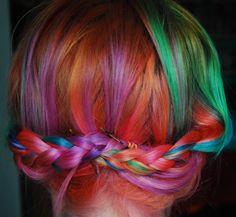 rainbow hair braid...so pretty