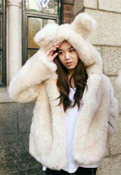 [grzxy6600430]Cute Sweet Fur Rabbit Hood Warm Coat