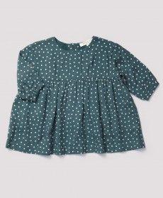 Leighfield Baby Dress, Teal Polka Dot