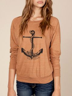 Refuse to Sink Anchor Eco Slouchy Pullover Sweater in by KindLabel, $38.00