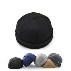 Men Solid French Brimless Hat Flanging Skullcap Sailor Cap Rolled Cuff Retro  Bucket Cap 1dd721644699